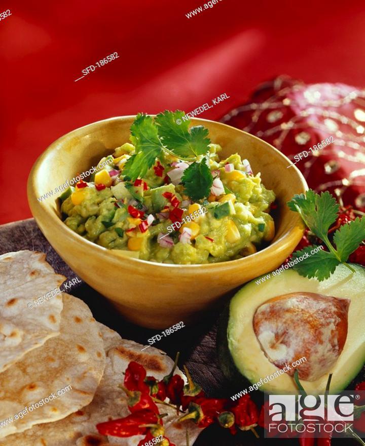 Stock Photo: Kaskay tondi avocado and sweetcorn dip, India.