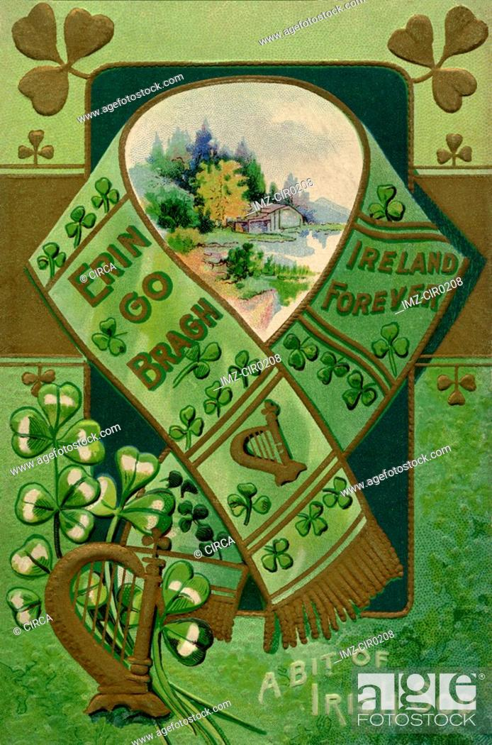 Stock Photo: A vintage collage illustration of a scarf, harp, shamrocks and a rural landscape.