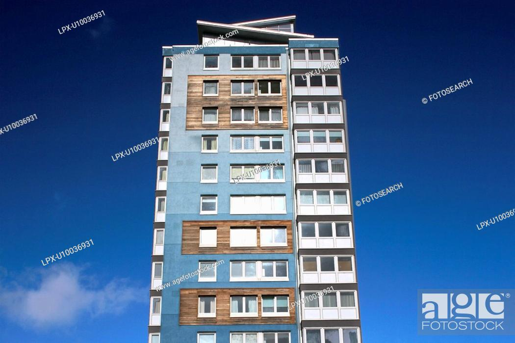 Stock Photo: Apartment building built wiht sustainable materials.