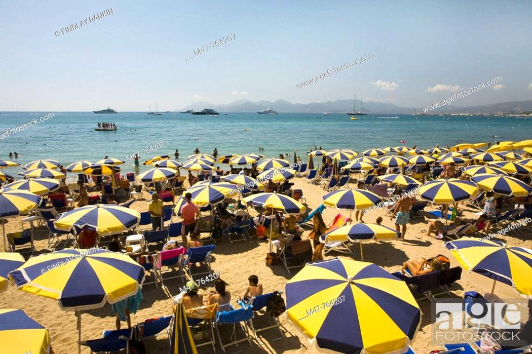 Stock Photo: Beach view at Cannes, Cote D'Azur, France.