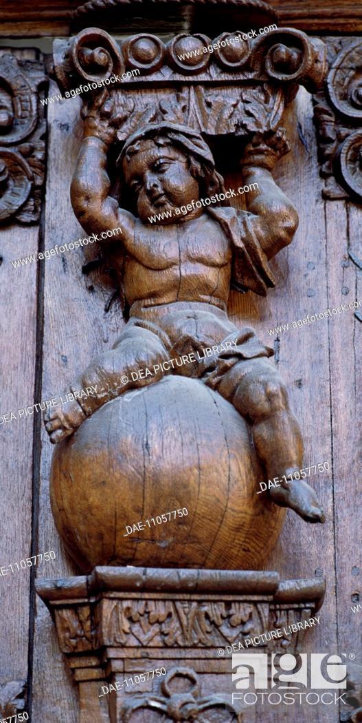 Stock Photo: Wood sculpture, Durnstein, Wachau region. Austria.