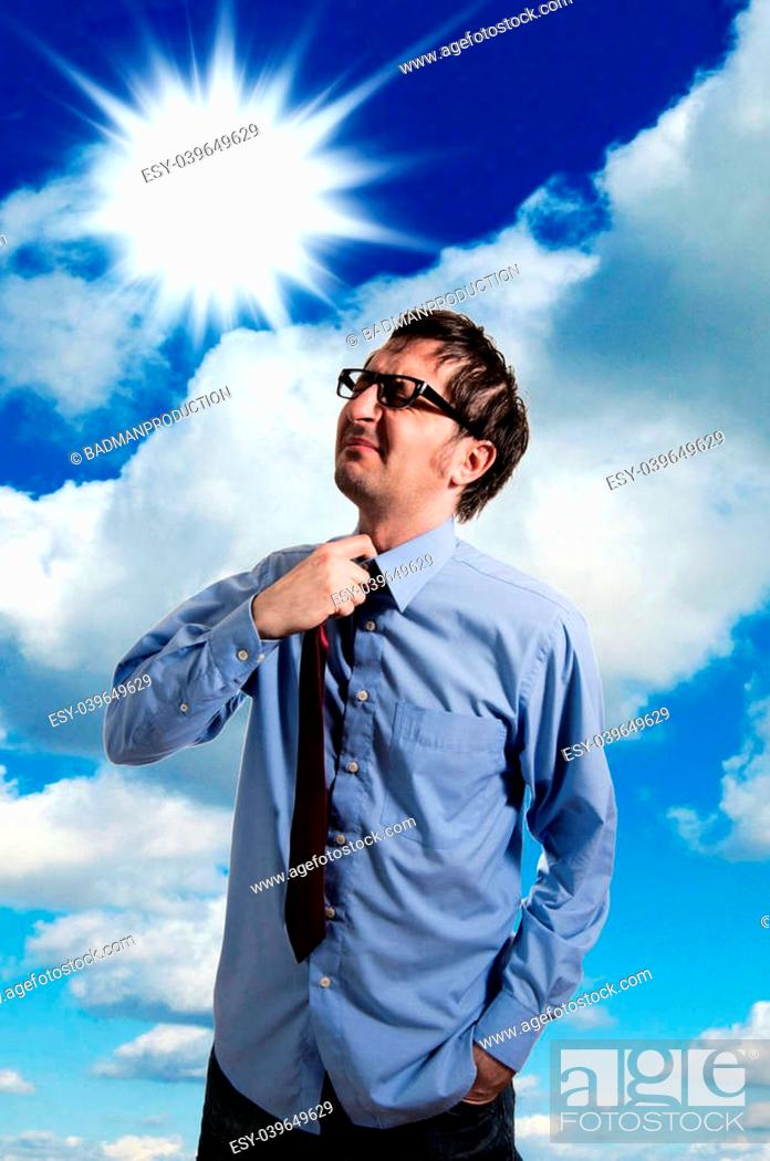 Stock Photo: Businessman have a need for air.