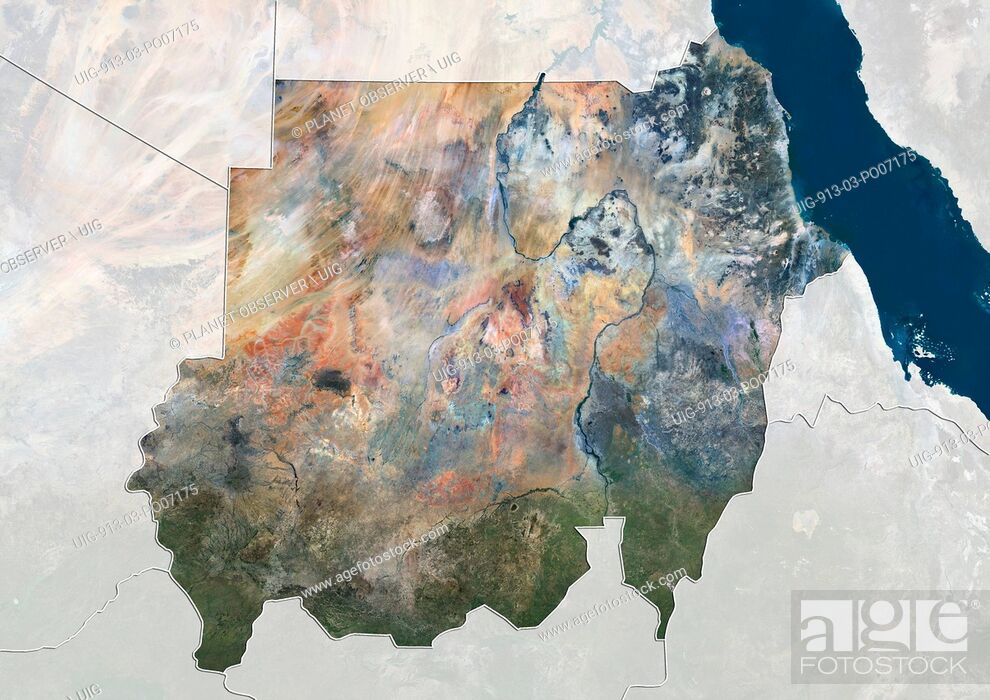 Imagen: Satellite view of Sudan (with country boundaries and mask). This image was compiled from data acquired by Landsat 8 satellite in 2014.
