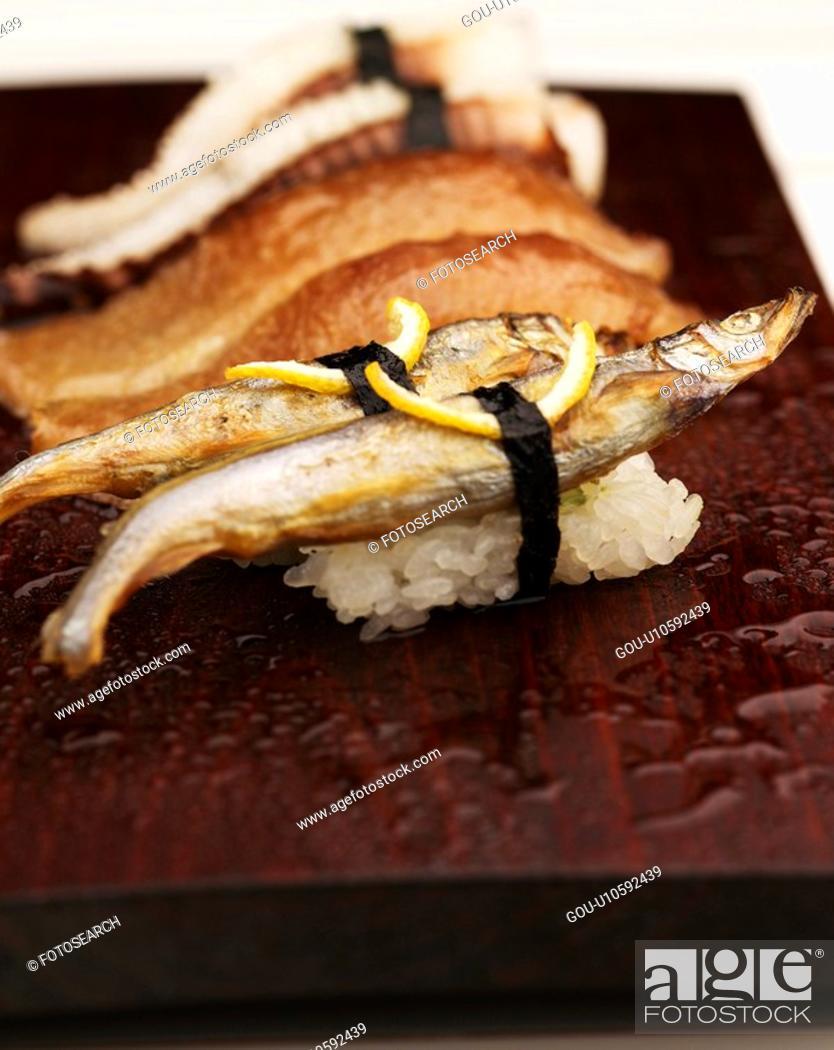 Stock Photo: shishamo, plate, tuna sushi, decoration, food styling, sushi plate.