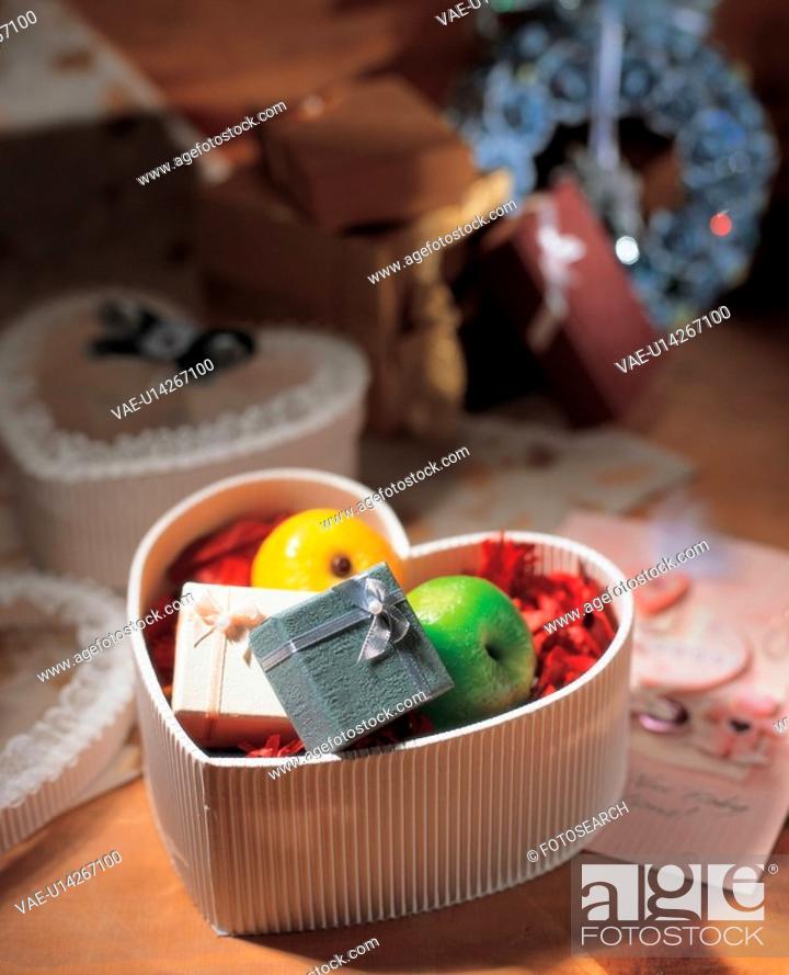 Stock Photo: gift box, gift, present, love, heart, heart shape, film.