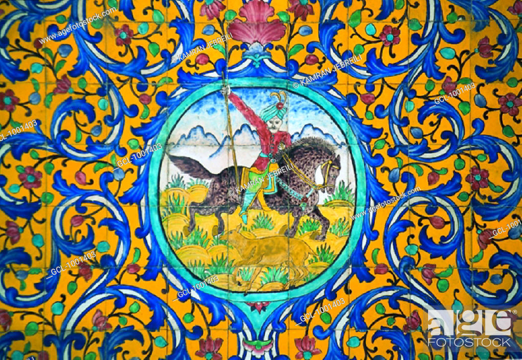 Stock Photo: Ornaments and Paintings on tiles in Golestan Palace Museum, Iran.