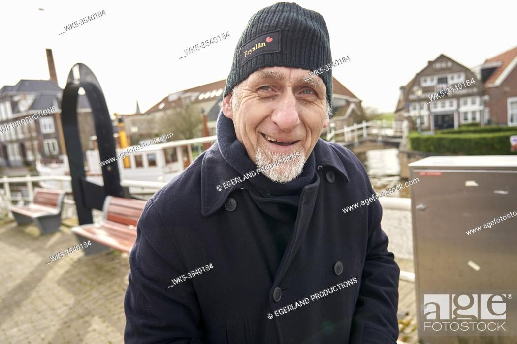 Photo de stock: grateful senior man with in Ijlst, Friesland, Netherlands.