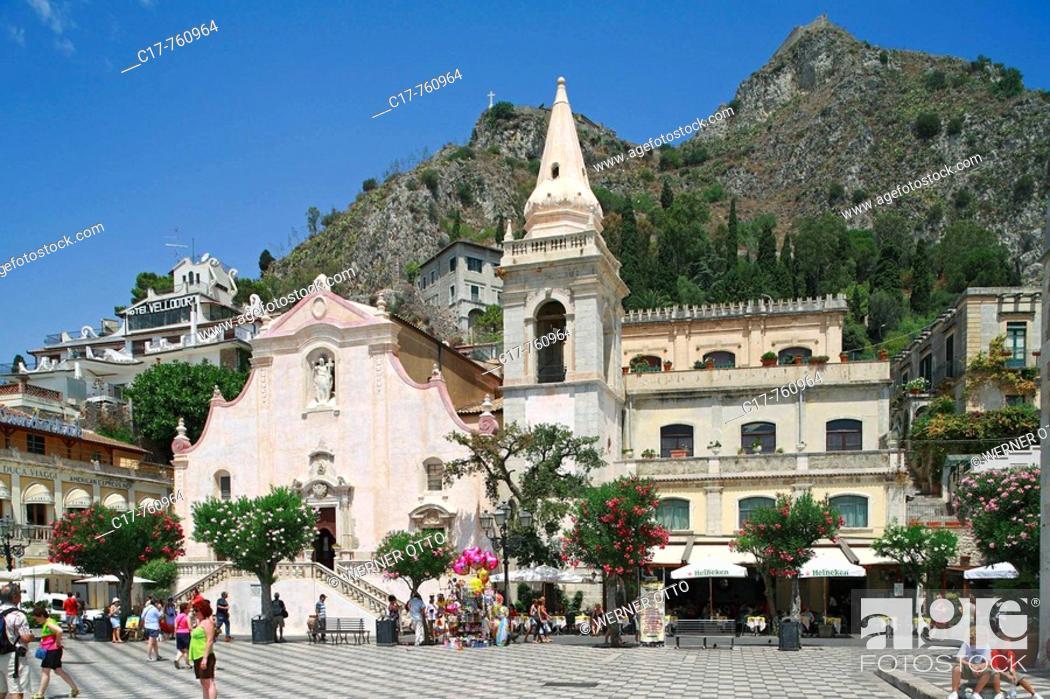 Stock Photo: Italien, Sizilien, Insel, Provinz Messina, I-Taormina, Ionisches Meer, Mittelmeer, Corso Umberto, Piazza IX Aprile, Platz des 9.