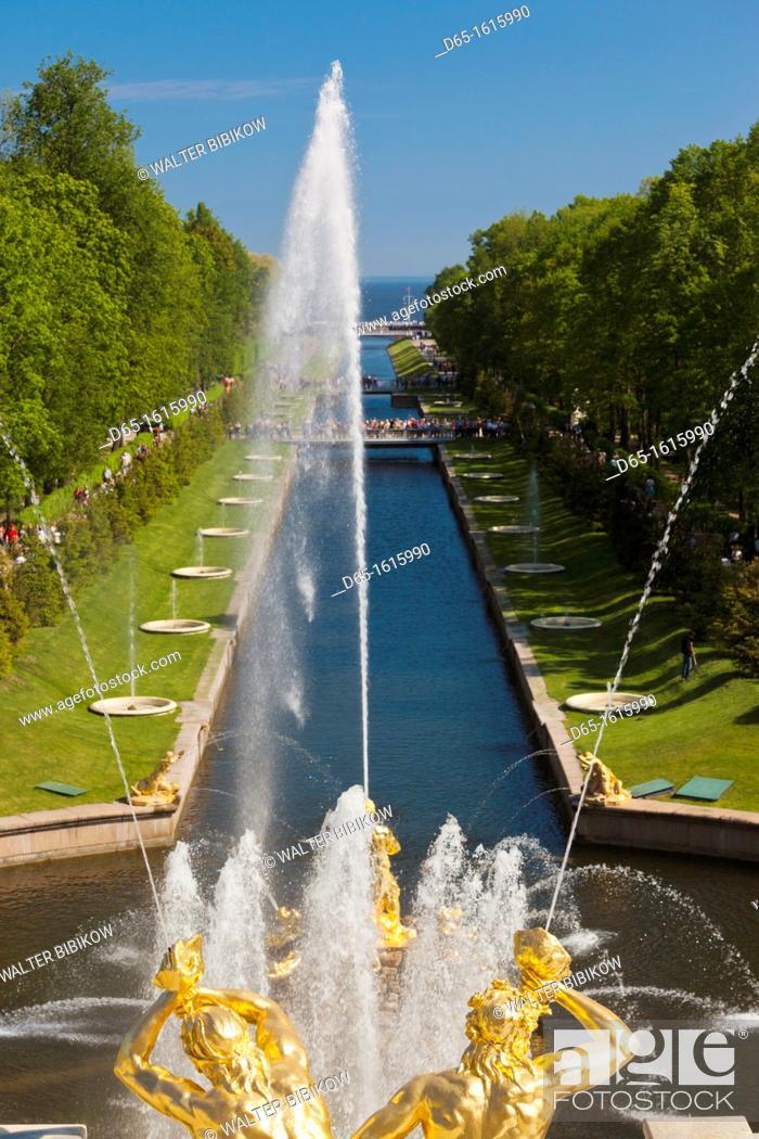 Stock Photo: Russia, Saint Petersburg, Peterhof, Grand Cascade fountains.