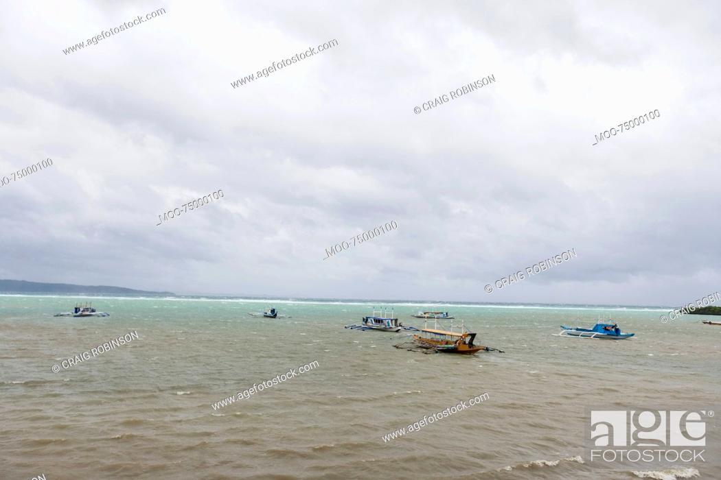 Stock Photo: Tourboats in Boracay, Philippines.