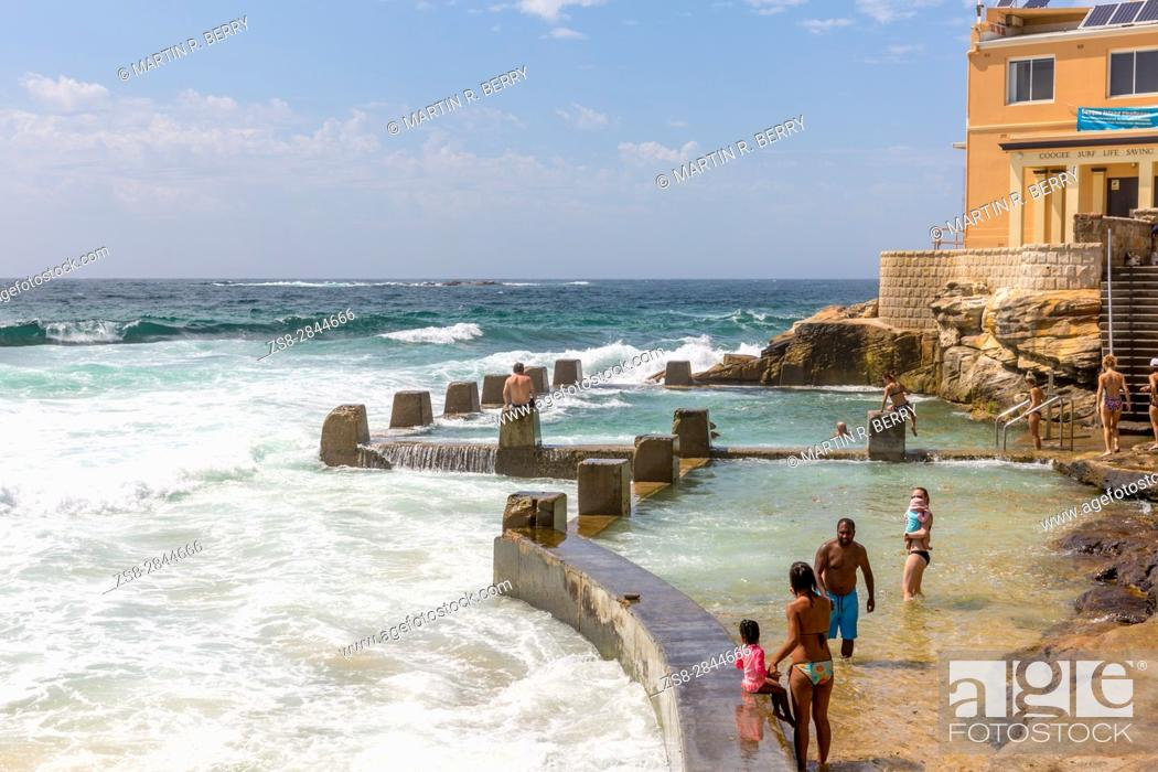 Stock Photo: Coogee Beach in Sydney eastern suburbs and Coogee Surf life saving club, Sydney, Australia.