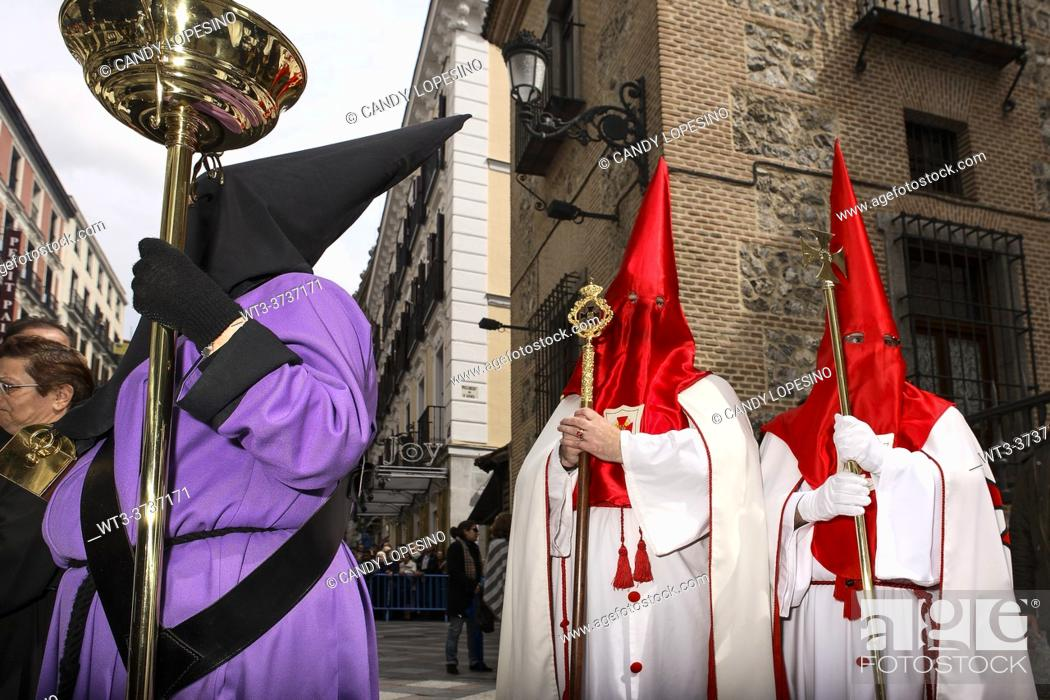 Stock Photo: Procession of the Virgin of the Loneliness on Holy Saturday of Holy Week, MADRID, SPAIN, EUROPE.