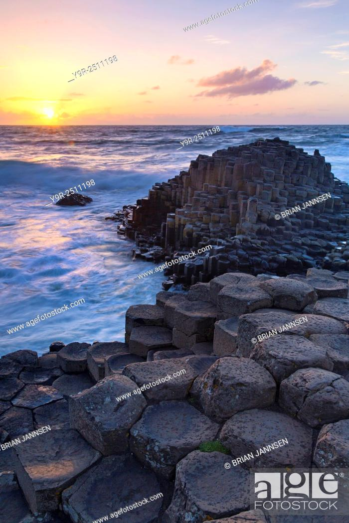 Stock Photo: Sunset over the Giant's Causeway, County Antrim, Northern Ireland.