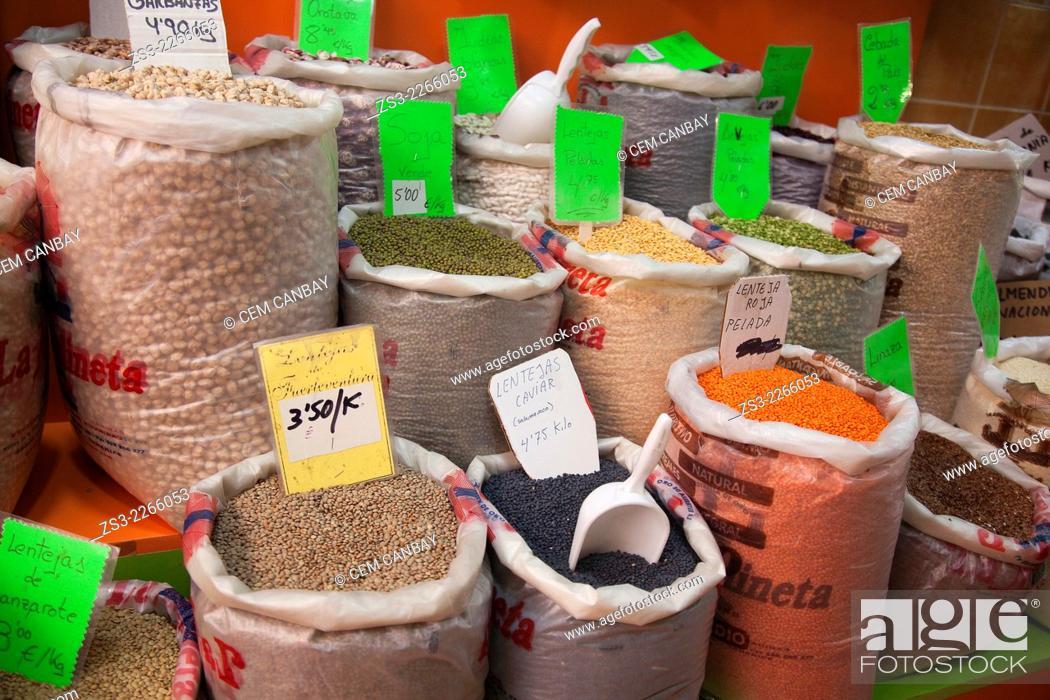 Stock Photo: Different legumes in sacks at the Mercado de Nuestra Senora de Africa market, Santa Cruz, Tenerife, Canary Islands, Spain, Europe.