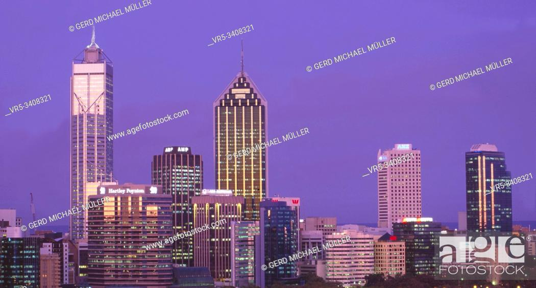 Stock Photo: West-Australia: The glimmering Skyline of the financial district in Perth city at night.
