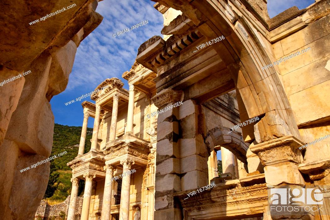 Stock Photo: Ruins of the Library of Celsus in ancient city of Ephesus, near Selcuk Turkey.