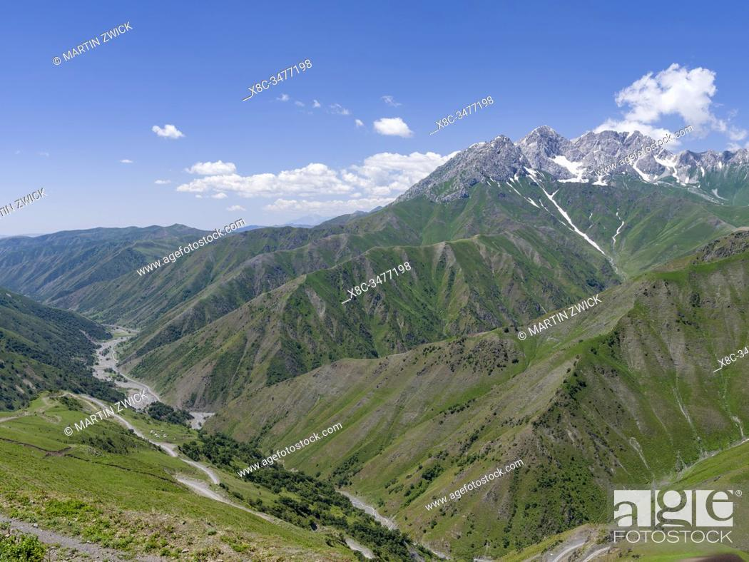 Stock Photo: Landscape along the mountain road from Jalal-Abad (Dzhalal-Abad, Djalal-Abat, Jalalabat) to mountain pass Urum Basch Ashuusu in the Tien Shan mountains or.