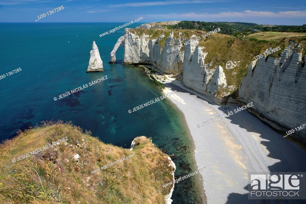Stock Photo: Rock arch of Etretat cliff, in Alabaster Coast  Seine-Maritime department, Haute-Normandie region  France.