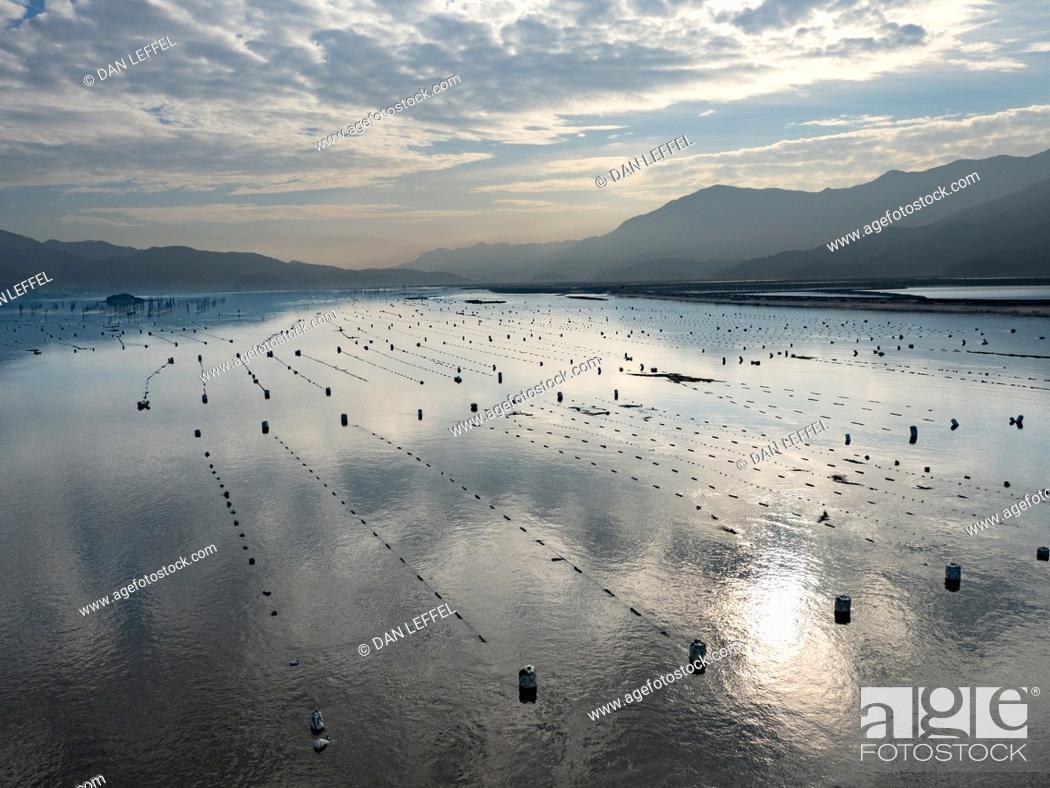 Stock Photo: China Xiapu Mussel Farm River.