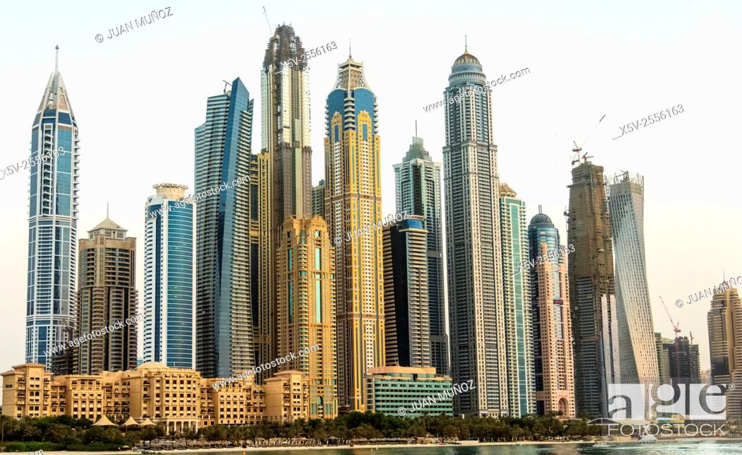 Stock Photo: Skyline of skyscrapers at Marina district in Dubai United Arab Emirates.