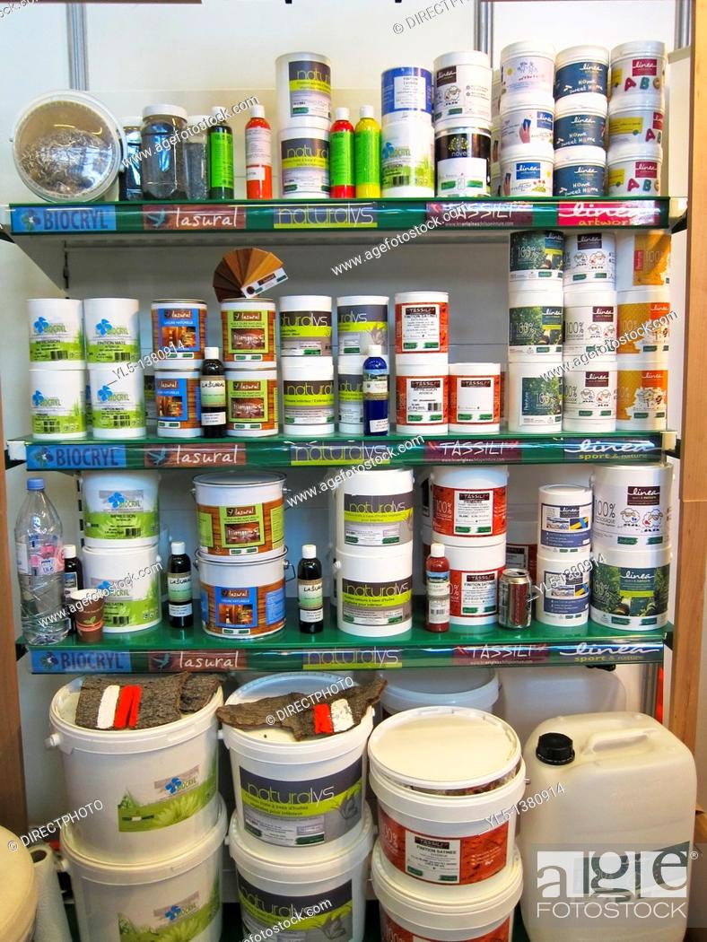 Stock Photo: Home Improvements, Natural Paints on Display in Shop.
