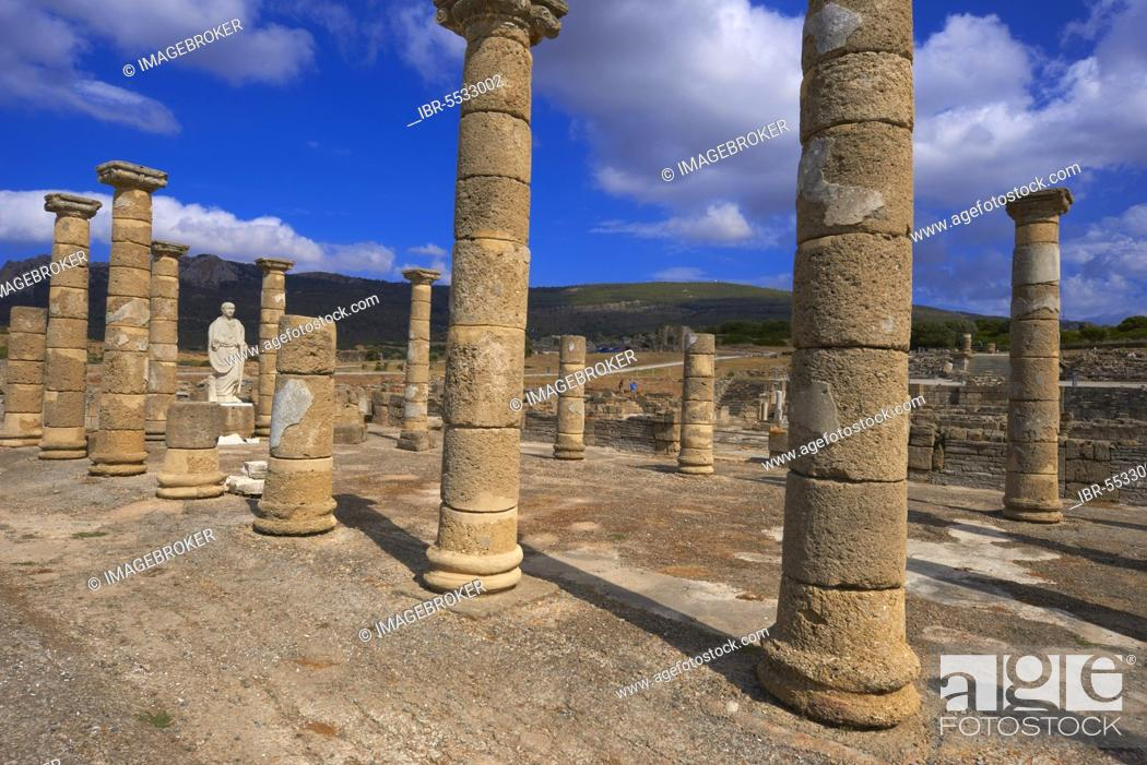 Stock Photo: Bolonia, Baelo Claudia, Archaeological site, old roman city, Strait of Gibraltar Natural Park, Costa de la Luz, Cadiz, Andalusia, Spain, Europe.