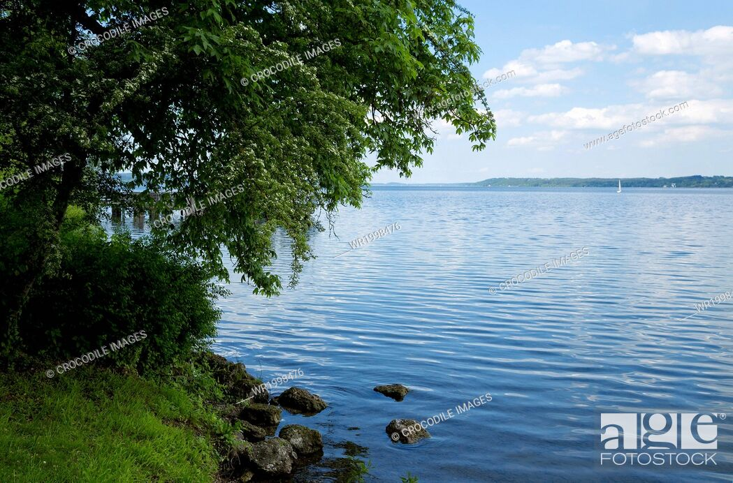 Stock Photo: Bank, Bavaria, Bliss, Blissful, Bodies Of Water, Body Of Water, Cloud, Day, Daylight, Daytime, Emptiness, Empty, Europe, Exterior, Germany, Horizontal, Idyll.