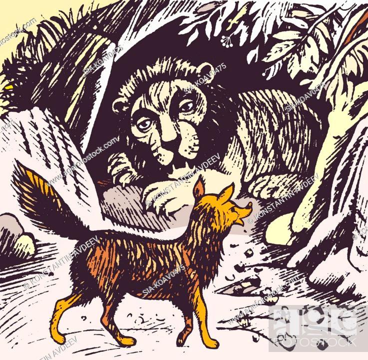 Imagen: Fox walking past lion's liar.