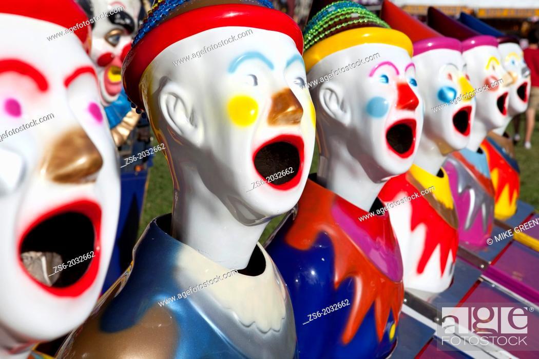 Stock Photo: Fairground clowns, Bellengen, NSW, Australia.
