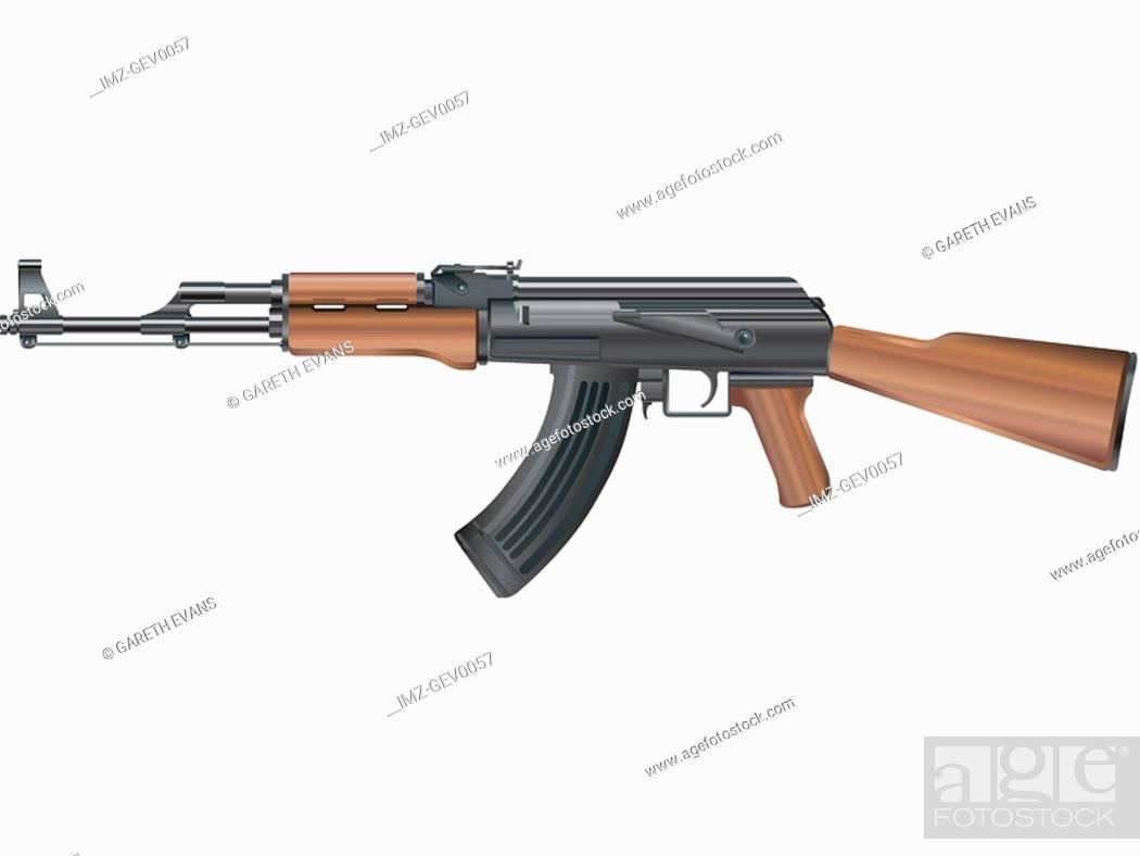 Stock Photo: An illustration of an automatic kalishnikov ak-47.