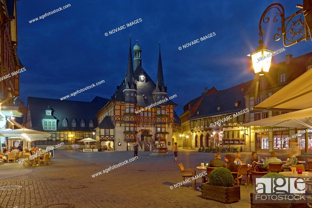 Stock Photo: Town hall at the market square in Wernigerode, Harz, Saxony-Anhalt, Germany.