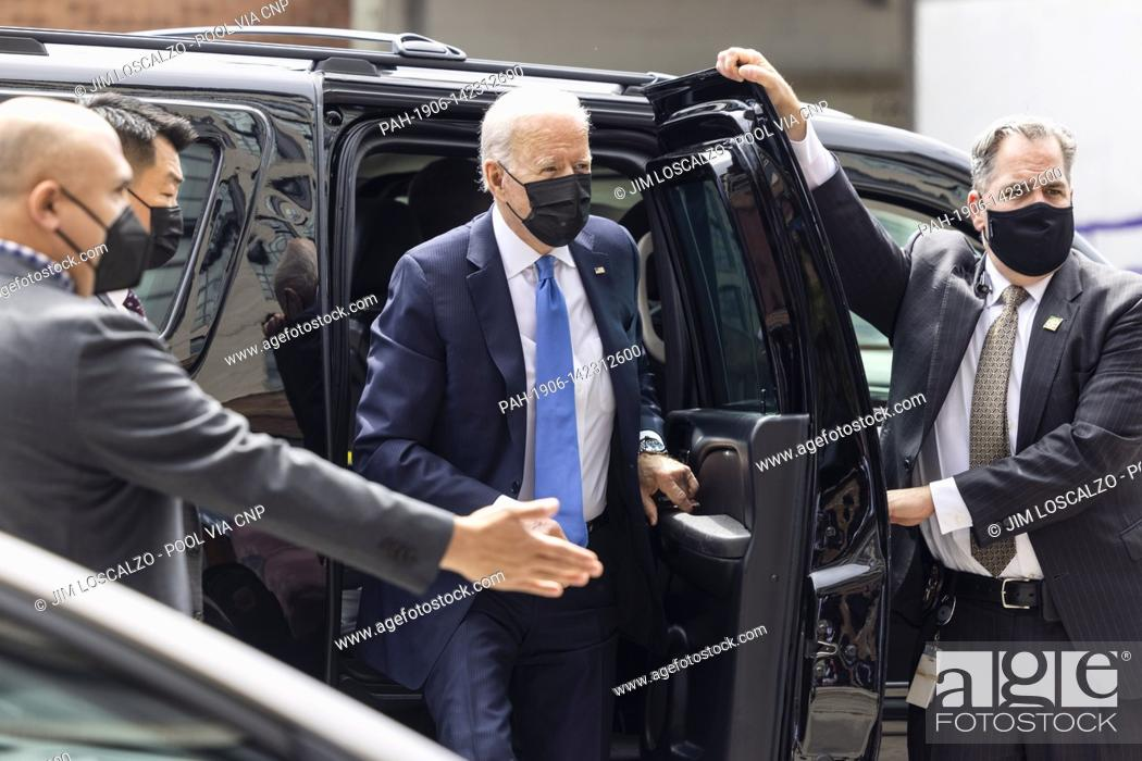 Stock Photo: United States President Joe Biden arrives to pick up tacos during a visit to Las Gemelas Restaurant in Washington, DC, USA, 05 May 2021.