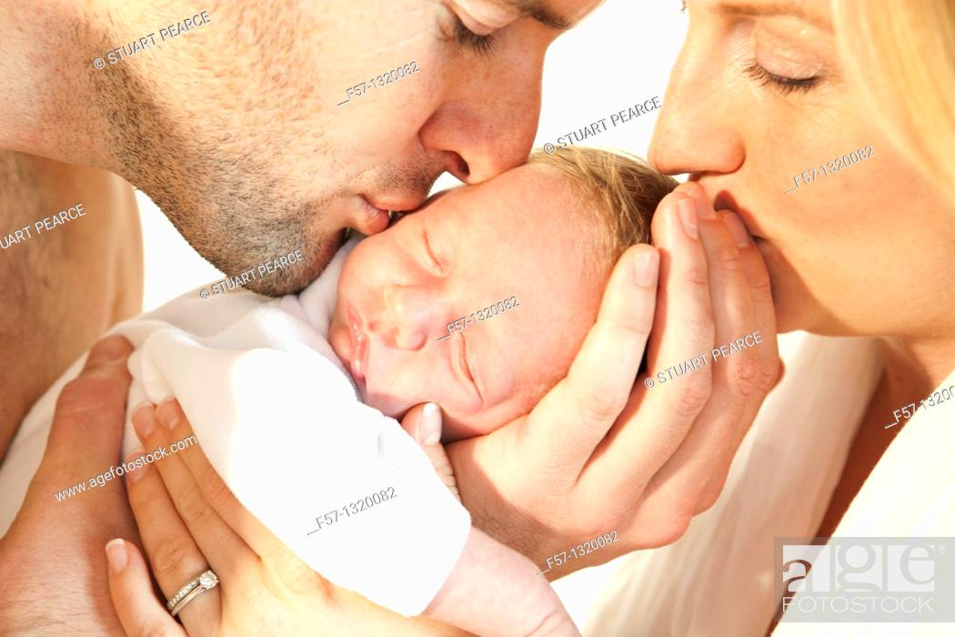Stock Photo: Three week old baby boy.