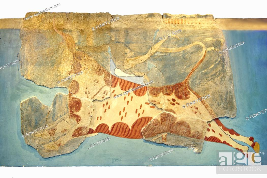 Stock Photo: Mycenaean Fresco wall painting of a man leaping over a bull from the Tiryns, Greece. 14th - 13th Century BC. Athens Archaeological Museum.
