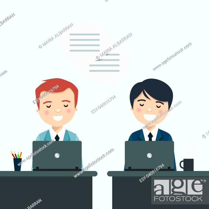 Stock Vector: Coworkers talking about work at the office. Vector illustration.