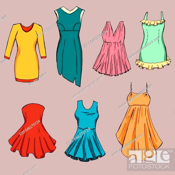 Stock Vector: Fashion set. Different dresses. illustration in hand drawing style.