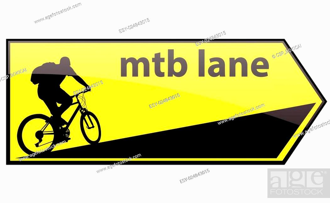 Stock Vector: mtb cycle lane direction signboard.