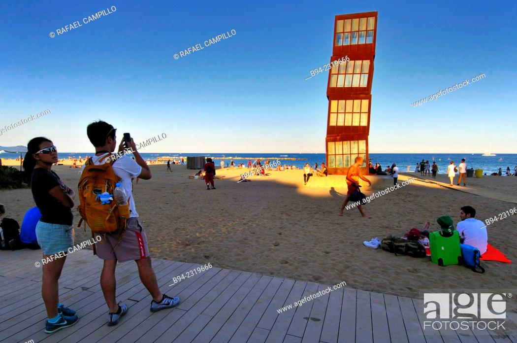 """Stock Photo: Sculpture """"L'estel ferit"""" ( The wounded star ) by Rebecca Horn at Barceloneta beach, 1992. Barcelona, Catalonia, Spain."""