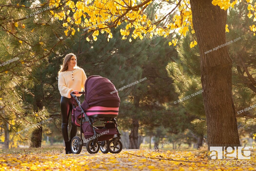 Stock Photo: Girl with a stroller with a newborn baby walks in a beautiful park.