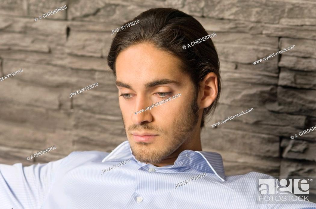 Stock Photo: Man looking serious.