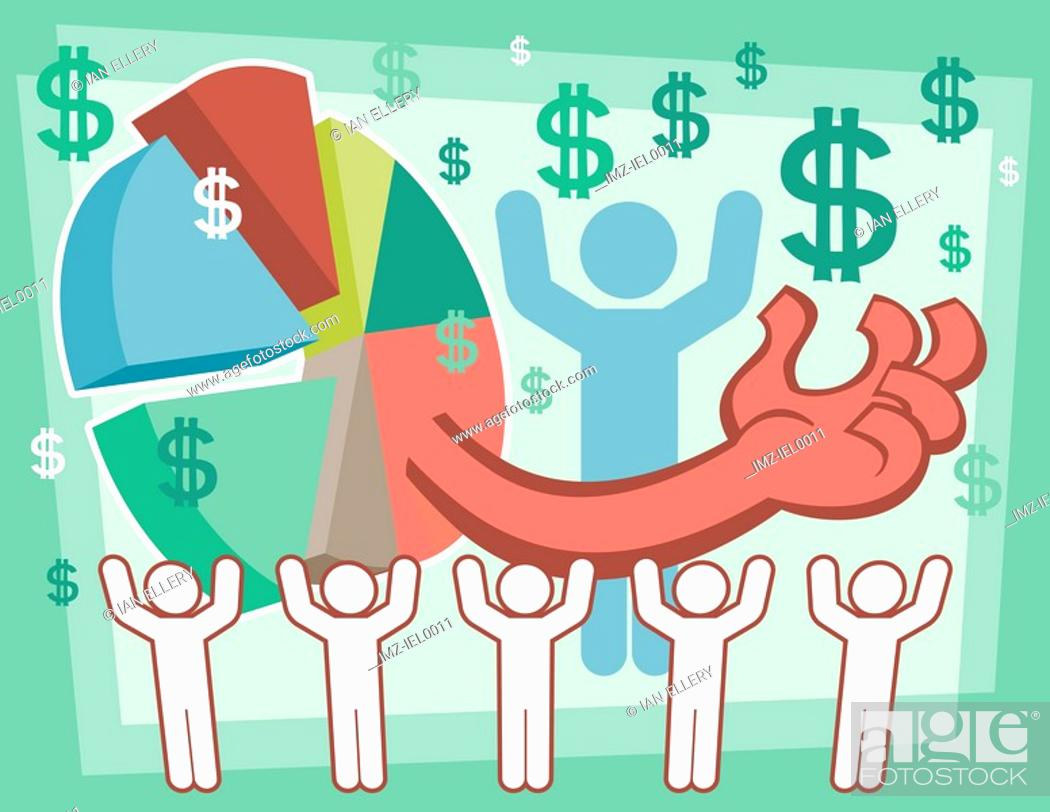 Stock Photo: A graphical illustration combining numerous graphic including a pie chart, male figures and dollar symbols.