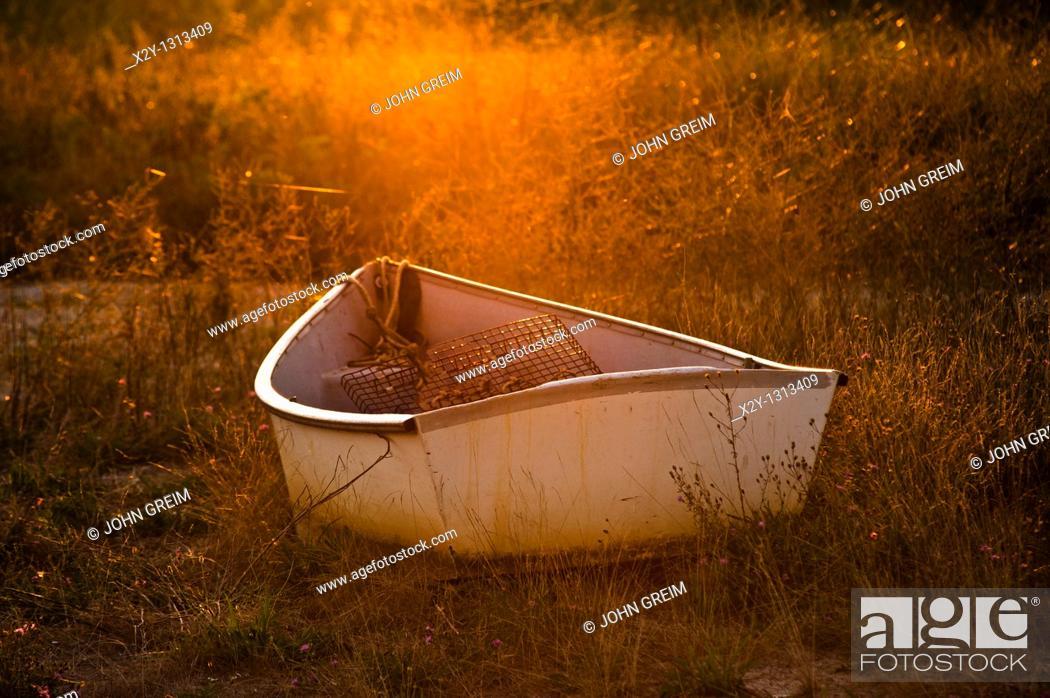 Stock Photo: Rowboat, Wellfleet, Cape Cod, MA, Massachusetts, USA.