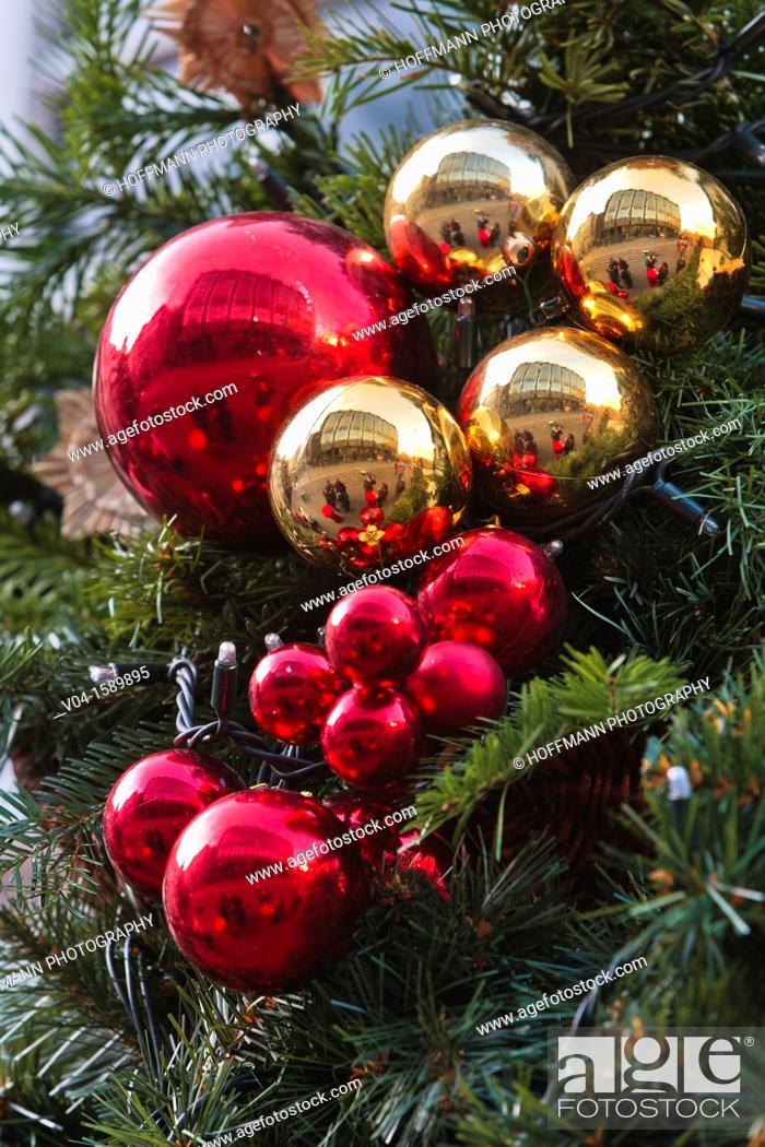 Stock Photo: Close up of red and golden christmas baubles, Bremen, Germany, Europe.