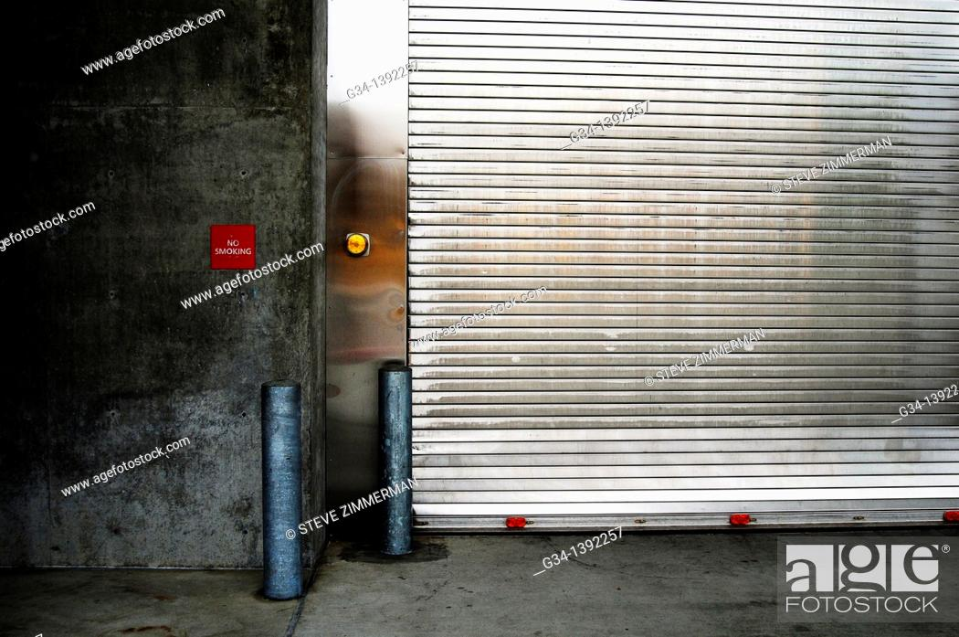Stock Photo: Garage door.