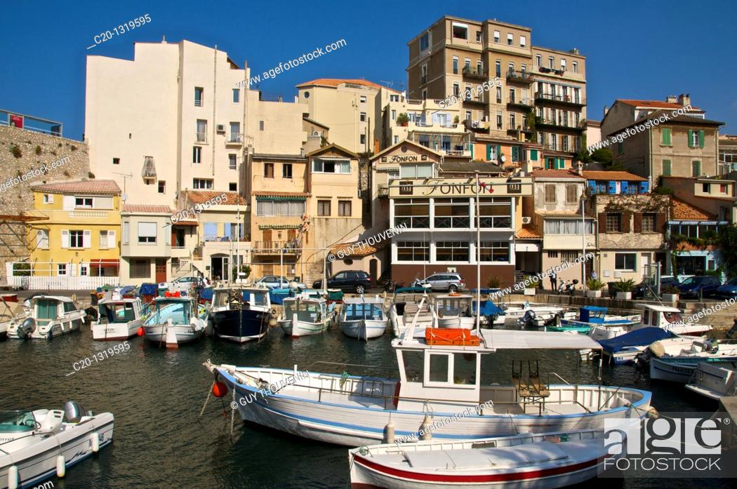 Stock Photo: Typical harbour and houses of the Vallon des Auffes, coast road/corniche, Marseille, Bouches du Rhone, 13, France.