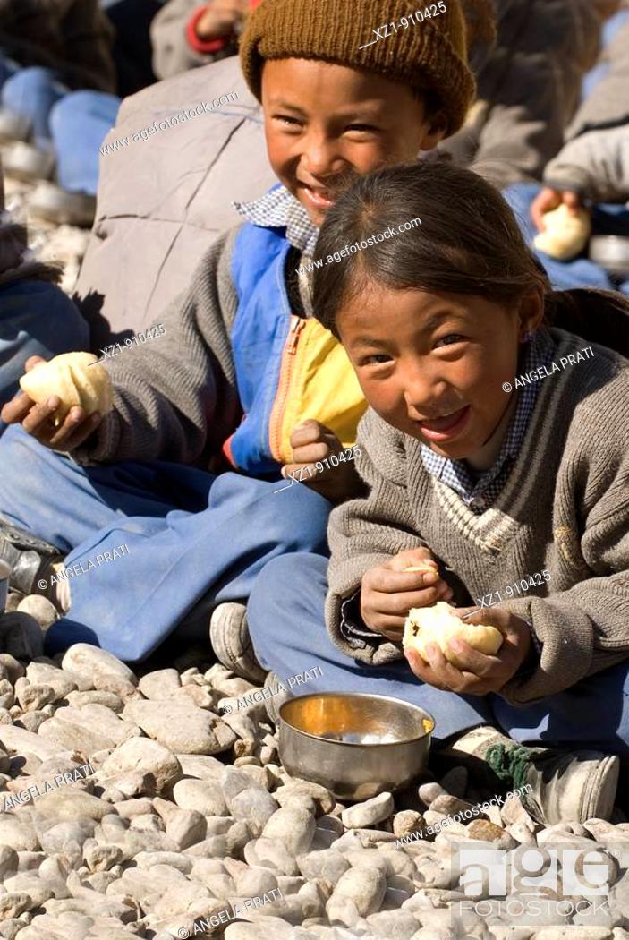 Stock Photo: SOS Village school, Choglamsar, Ladakh, Jammu and Kashmir, India.