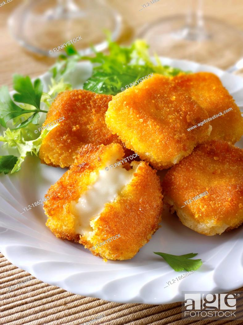 Stock Photo: Deep fried camembert.