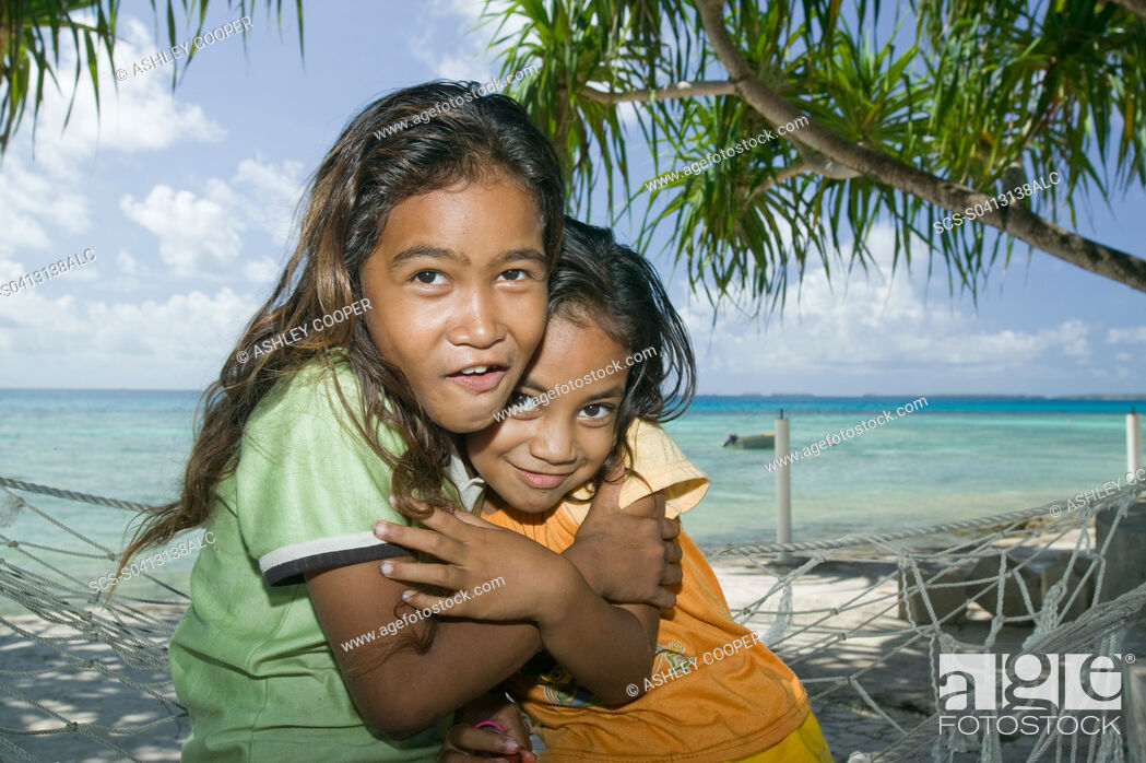 Stock Photo: Funafuti atol Tuvalu on the front line of the battle against global warming Only 15 feet above sea level at the highest point with many parts of the island.