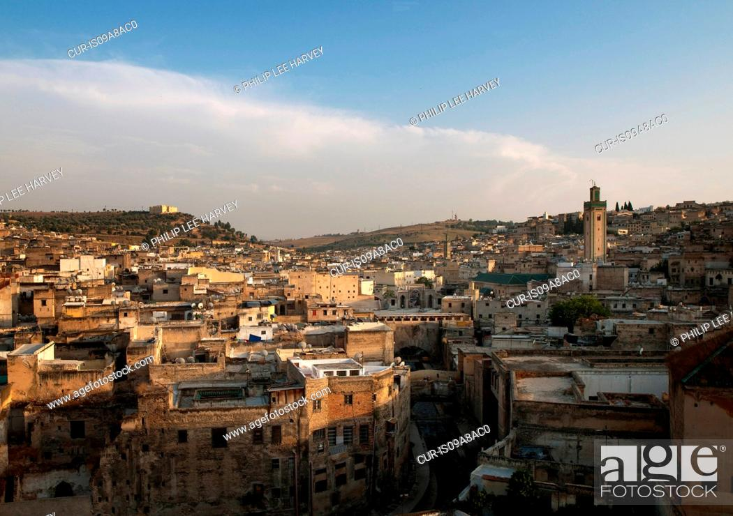 Stock Photo: View of the medina including the Kairaouine Mosque in Fes, Morocco.