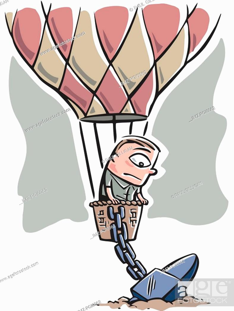 Stock Photo: Hot air balloon chained to the ground.